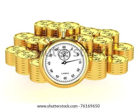 Time is money. Pile of gold coins and stop watch isolated on white background.