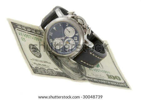 Time is money. Watch and hundred dollars banknote isolated over white background - stock photo