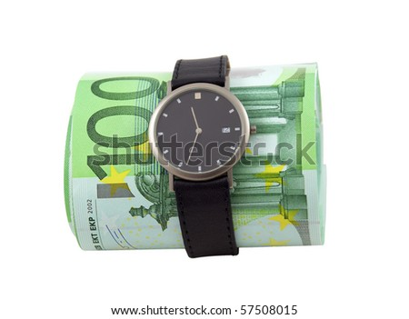 Time is money. Watch and one hundred euro bills isolated over white. - stock photo