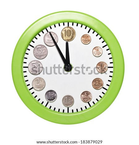 Time is money. Watch coins rubles on the dial - stock photo