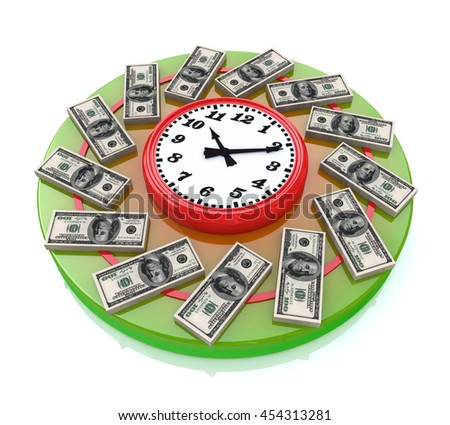 Time is money when you make information related to business and economy. 3d illustration - stock photo
