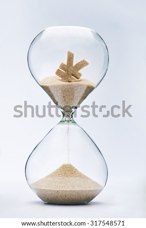 Time is money. Yuan sign flowing down in the hourglass.