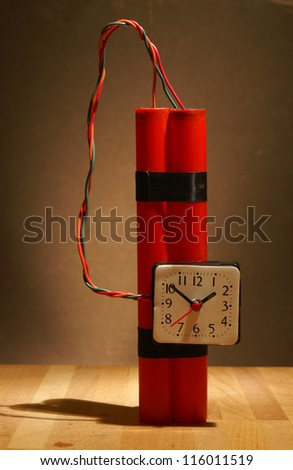Time is ticking on this bomb ready for destruction. - stock photo