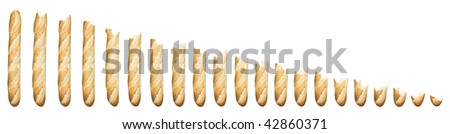 Time lapse - Baguette being eaten isolated on a white background - stock photo