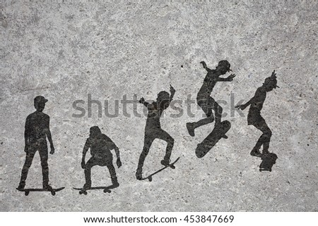 Time-lapse silhouette of a skateboarder doing a leap printed on a grungy concrete wall.  - stock photo