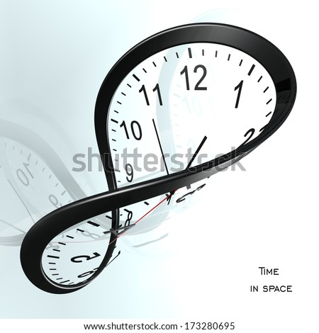 Time loop. Clock in curved space - stock photo