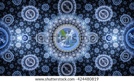 Time Machine. Mechanism and gear galactic hours. Infinity. Eternity. Mysterious psychedelic relaxation wallpaper. Sacred geometry. Fractal abstract pattern. Digital artwork creative graphic design. - stock photo