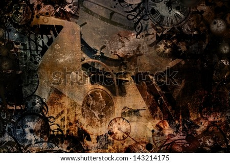 time machine vintage steampunk background illustration - stock photo