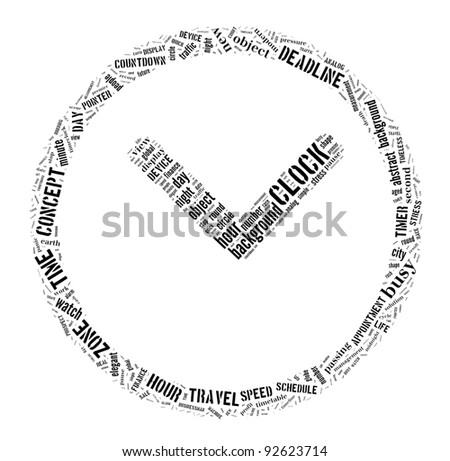 time management and clock info-text graphics and arrangement concept on white background - stock photo