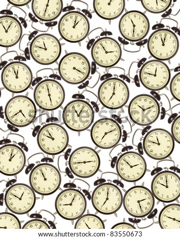 Time management and deadlines concept - alarm clocks on white - stock photo