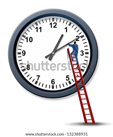 Time management and setting a time for a business appointment with a businessman as a personal organizer climbing a red ladder to change and move the hands of a clock to manage a schedule. - stock photo