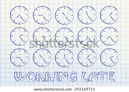 time management and working late: series of clocks showing the hours of the day passing by - stock photo
