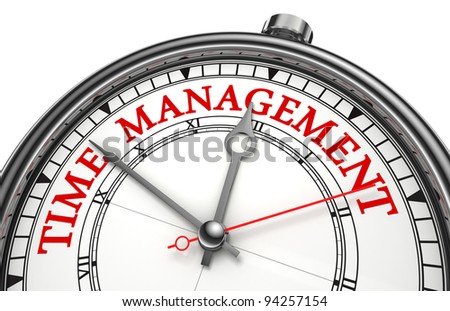 time management concept clock closeup isolated on white background with red and black words - stock photo