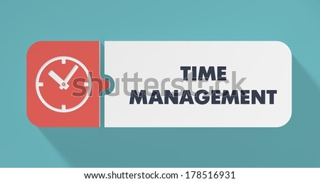 Time Management Concept in Flat Design with Long Shadows. - stock photo