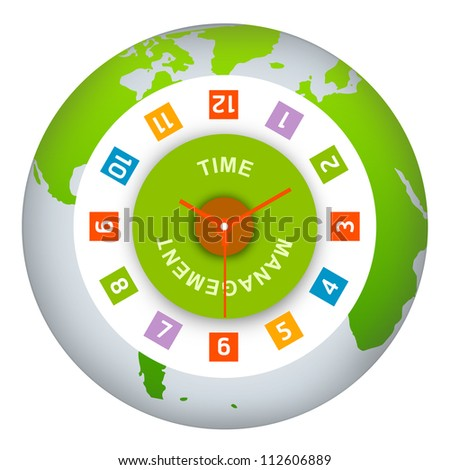 Time Management Concept Present By The Clock and The Word Time Management Inside on The Green Globe Isolated on White Background - stock photo