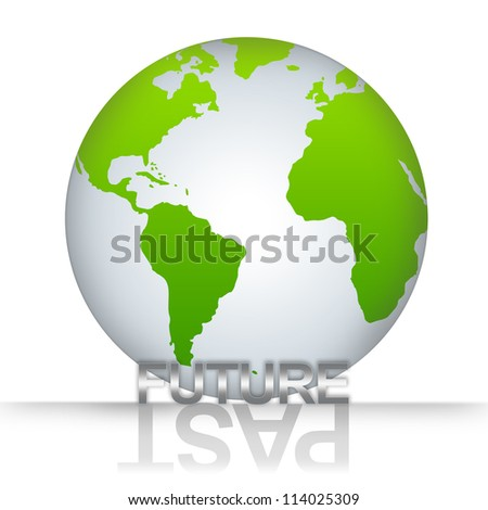 Time Management Concept, The Green Globe With Silver Metallic Future Text With Past Text As Shadow Isolated on White Background - stock photo