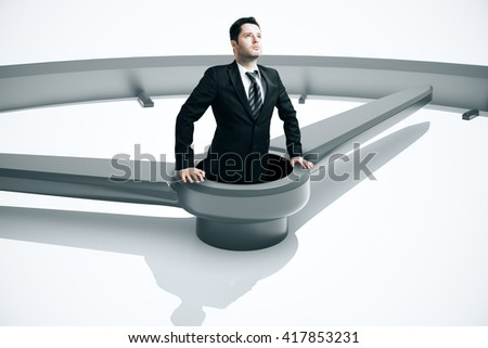 Time management concept with businessman drowing in clock. 3D Rendering - stock photo