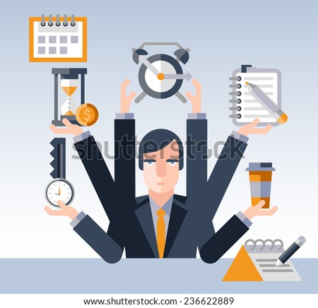Time management concept with multitasking businessman with many hands and successful planning elements  illustration - stock photo