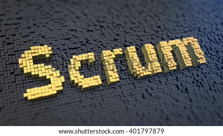Time-management for teams. Word Scrum of the yellow square pixels on a black matrix background. 3D illustration jpeg