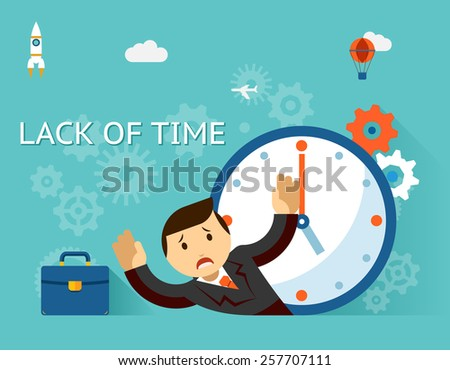 Time management. Lack of time concept. Businessman and clock. Clockwise, emotion and occupation - stock photo