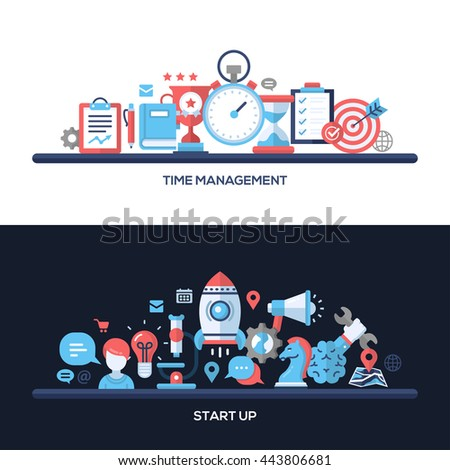 Time Management, Start Up concepts compositions set. Modern line flat design infographics elements and web design banners, headers.  - stock photo