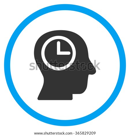 Time Manager glyph icon. Style is bicolor flat circled symbol, blue and gray colors, rounded angles, white background. - stock photo