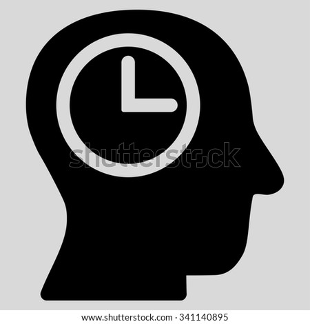Time Manager glyph icon. Style is flat symbol, black color, rounded angles, light gray background. - stock photo