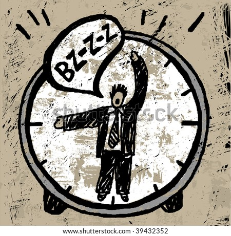 Time manager. The unrecognizable man in the suit is showing the time on the watch and crying. His arms is looking like arrows. Textured color illustration. - stock photo