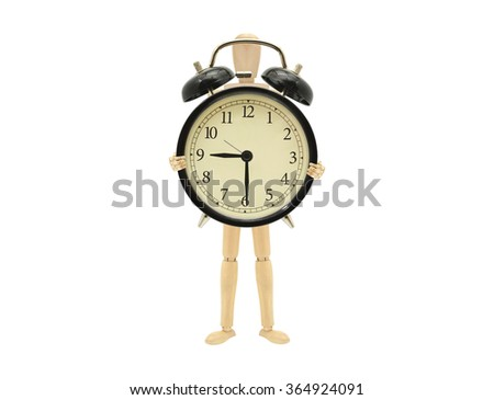 Time Nine Thirty Wood Mannequin holding alarm clock isolated on white background