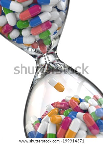 Time of medicine. Pills in hourglass. 3d - stock photo