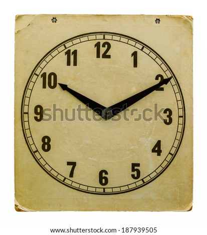 Time on old wall paper clock 10:10. Isolated from background - stock photo