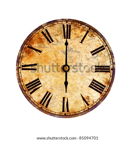 time on vintage clock - stock photo