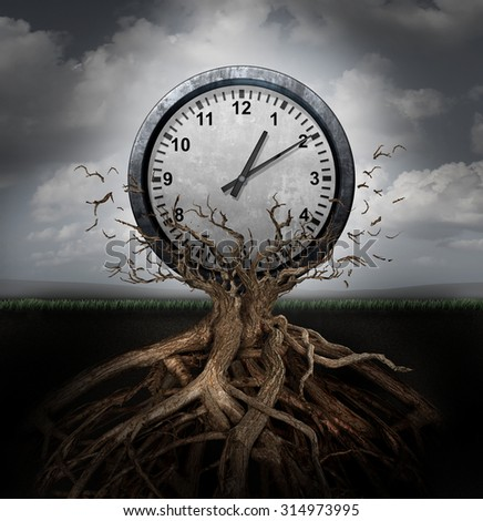 Time planning and efficiency management business concept as a clock breaking free from a tree trunk as a surreal symbol for productivity schedule and strategy. - stock photo