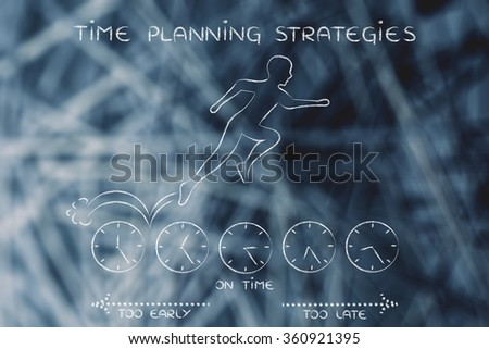 time planning strategies: person running on clocks being on time