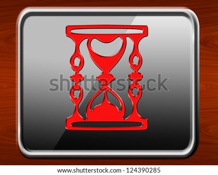time red glossy icon on wood background - stock photo