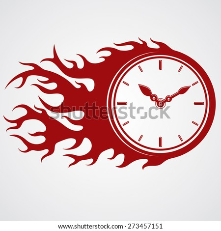 Time runs fast concept, timer with burning flame. highly detailed illustration. Deadline theme stylized illustration. - stock photo