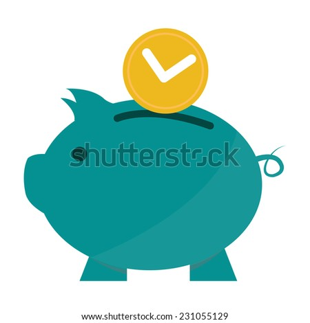 Time Saving, Time Depositing Into Blue Piggy Bank, Time Management Concept Isolated on White Background  - stock photo