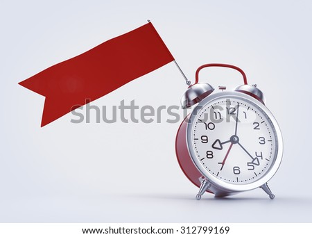 Time Scheduling Graphic Template. Alarm clock with a blank red banner/flag. 3D rendered graphics on light background. - stock photo