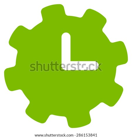 Time settings icon from Business Bicolor Set. This flat glyph symbol uses eco green color, rounded angles, and isolated on a white background. - stock photo