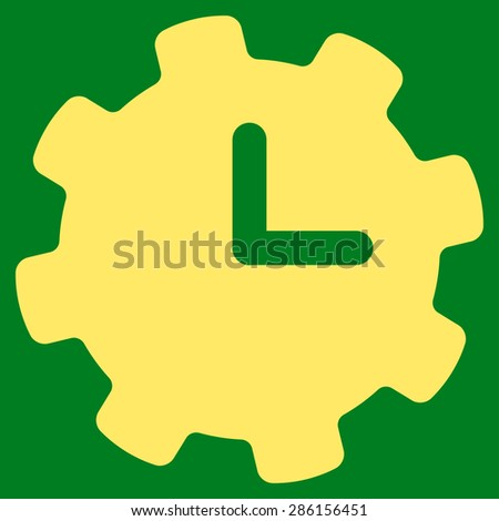 Time settings icon from Business Bicolor Set. This flat glyph symbol uses yellow color, rounded angles, and isolated on a green background. - stock photo