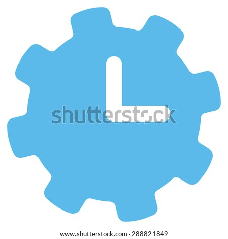 Time settings icon from Business Bicolor Set. This flat raster symbol uses blue color, rounded angles, and isolated on a white background.