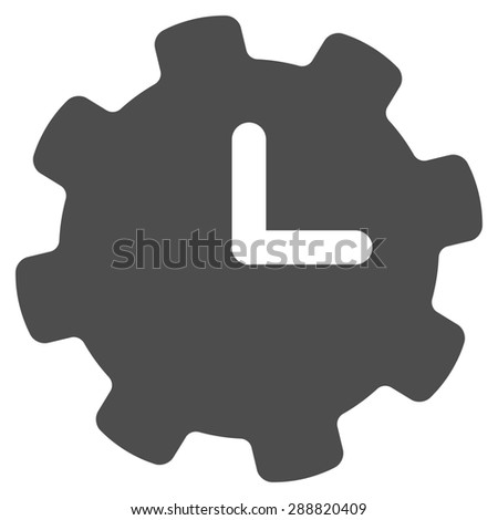 Time settings icon from Business Bicolor Set. This flat raster symbol uses gray color, rounded angles, and isolated on a white background. - stock photo