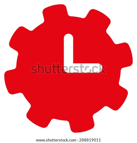 Time settings icon from Business Bicolor Set. This flat raster symbol uses red color, rounded angles, and isolated on a white background. - stock photo
