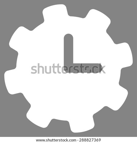 Time settings icon from Business Bicolor Set. This flat raster symbol uses white color, rounded angles, and isolated on a gray background. - stock photo