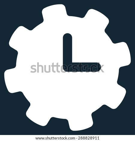 Time settings icon from Business Bicolor Set. This flat raster symbol uses white color, rounded angles, and isolated on a dark blue background. - stock photo