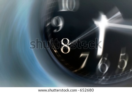 Time spinning fast on the face of a clock, morning or evening rush - inverted image - stock photo