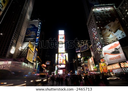 Time Sq. at night. New York