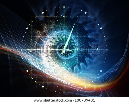 Time Symmetry series.  Interplay of clock and fractal elements on the subject of time, space and science - stock photo