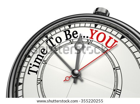 Time to be yourself red word on concept clock, isolated on white background