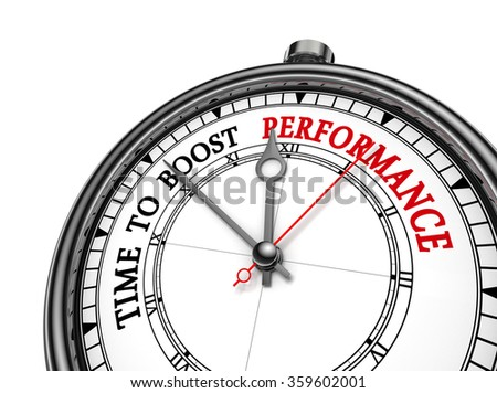 Time to boost performance motivation on concept clock, isolated on white background
